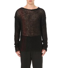 Isabel Benenato Open Knit Oversized Jumper Black