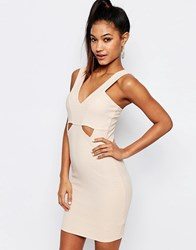 Ariana Grande For Lipsy Ribbed Bodycon Cut Out Dress Nude Pink