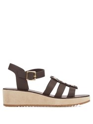 A.P.C. Vivienne Leather And Suede Wedge Sandals Dark Brown