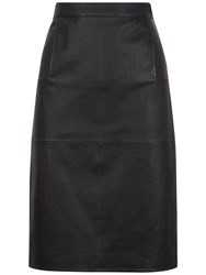 Jaeger Stretch Leather Skirt Black