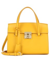 Salvatore Ferragamo Mara Leather Shoulder Bag Yellow