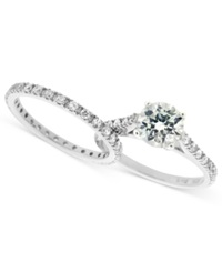 B. Brilliant Sterling Silver Ring Set Cubic Zirconia Wedding Band And Engagement Ring Set 1 3 4 Ct. T.W.
