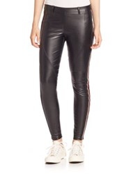 Faith Connexion Faux Leather Striped Skinny Pants Black