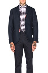Thom Browne Double Woven Twill Classic Blazer In Blue