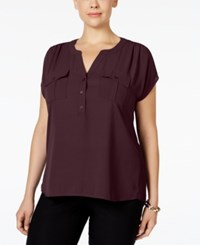 Inc International Concepts Plus Size Mixed Media Utility Shirt Only At Macy's Port