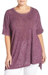 Plus Size Women's Bobeau Asymmetrical Hem Tee Purple Italian