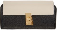 Chloe Black And Off White Long Drew Wallet