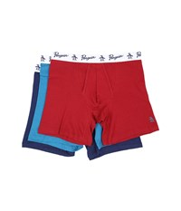 Original Penguin 100 Cotton 3 Pack Boxer Brief Biking Red Seaport Medieval Blue Men's Underwear Multi