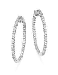 Crislu Cubic Zirconia Lined Hinged Hoop Earrings 1.25 In. Silver