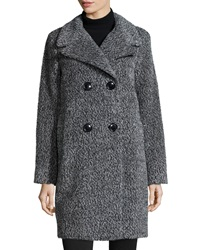 Sofia Cashmere Double Breasted Cocoon Coat Black White