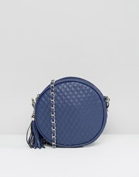 Liquorish Quilted Cross Body Bag Navy Red