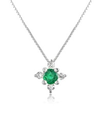 Incanto Royale Diamond And Emerald Flower 18K Gold Pendant Necklace Green