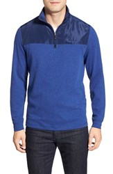 Men's Bugatchi Long Sleeve Quarter Zip Knit Sweatshirt Night Blue