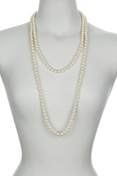 Nordstrom Rack 8Mm Pearl Long Necklace Brown