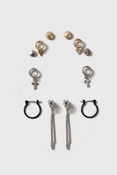 Topshop Cross And Hoop Earring Pack Mixed Metal