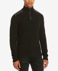 Kenneth Cole Reaction Men's Quarter Zip Pieced Shoulder Sweater Black