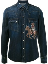 Dolce And Gabbana Cowboy Patch Western Denim Shirt Blue