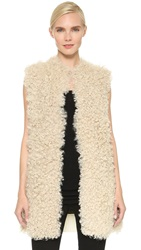 Tess Giberson Shearling Vest With Knit Back Ivory