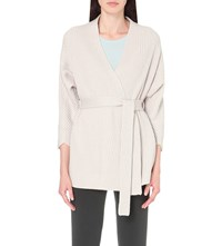 Armani Collezioni Wrap Style Wool And Cashmere Cardigan Beige Grey