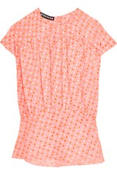 Rochas Embroidered Polka Dot Chiffon Top Pastel Pink
