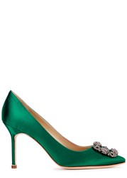Manolo Blahnik Hangisi 90 Emerald Satin Pumps Green