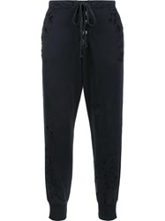 Greg Lauren Buttoned Detailing Sweatpants Black