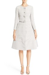 Carolina Herrera Women's Embellished Belted Silk Faille A Line Dress