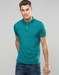 Tommy Hilfiger Polo Shirt In Slim Fit Green Shaded Spr