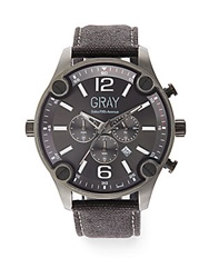 Saks Fifth Avenue Stainless Steel And Canvas Strap Watch Gunmetal