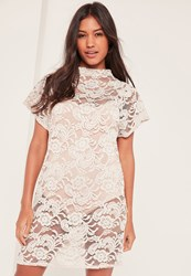 Missguided Lace High Neck Oversized T Shirt Dress Stone
