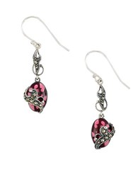 Lord And Taylor Marcasite Sterling Silver Drop Earrings Red