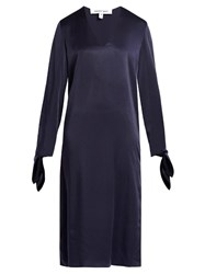 Elizabeth And James Bradock V Neck Long Sleeved Satin Dress Navy