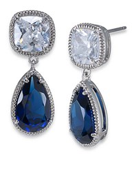 Carolee Uptown Recolor Blue And Crystal Pear Drop Earrings Blue Silver