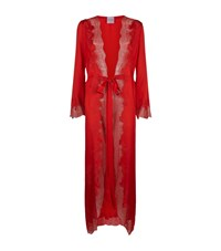 Carine Gilson Long Silk And Lace Robe Female Red