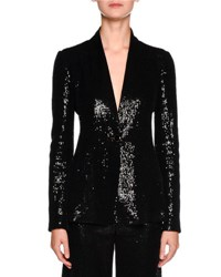 Giorgio Armani Sequined One Button Tuxedo Jacket Black