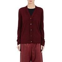 Maison Martin Margiela Women's Distressed Knit Cardigan Red Burgundy Red Burgundy