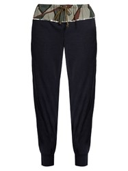 Kolor Camouflage Print Paneled Wool Blend Trousers Navy
