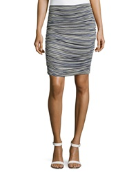 Max Studio Striped Ruched Skirt Heather Steel
