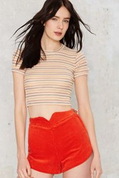 Nasty Gal After Party Vintage Emiline Crop Tee Tan