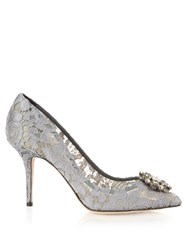 Dolce And Gabbana Crystal Embellished Lace Pumps Grey
