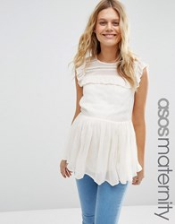 Asos Maternity Sleeveless Tiered Ruffle Blouse With Lace Inserts Cream