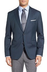 Boss Men's 'Jewels' Trim Fit Herringbone Wool Sport Coat Teal