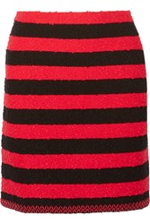 Sonia Rykiel Faux Leather Trimmed Striped Stretch Boucle Mini Skirt Red