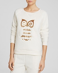 Kensie Owl Sequin Fleece Sweatshirt Just Nude