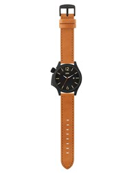 Edwin Watch Black Dial With Brown Leather Band Brook