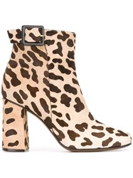 L'autre Chose Animal Print Ankle Boots Nude And Neutrals