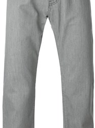 Armani Jeans Trim Detail Straight Leg Trousers Grey