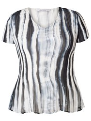 Chesca Shadow Striped Short Sleeved Top Ivory Ink