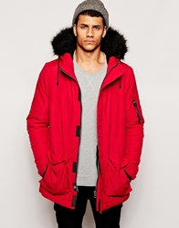 Bellfield Arctic Parka With Faux Fur Hood Red