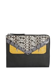 Fendi Large Monster Elaphe And Leather Pouch